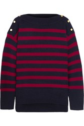 Vanessa Bruno Button Detailed Striped Wool And Cashmere Blend Sweater Navy