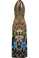 Temperley London Siberia Printed Satin Jacquard Halter Maxi Dress Black
