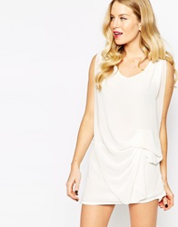 Pussycat London Top With Gathered Side White