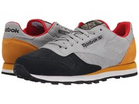 Reebok Classic Leather Int Op Flat Grey Black Collegiate Gold Red Rush Men's Shoes Gray