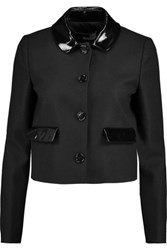 Love Moschino Cropped Faux Patent Leather Trimmed Wool Blend Jacket Black