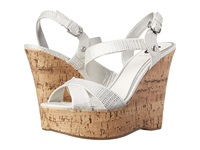 G By Guess Helix White Metallic Lizard Ii Women's Wedge Shoes