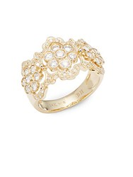Effy Diamond And 14K Yellow Gold Floral Ring