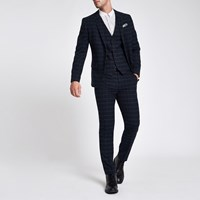 River Island Navy Window Pane Check Skinny Fit Suit Jacket