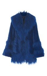 Anna Sui La Belle Faux Fur Coat Blue