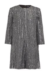 French Connection Desiree Disco Long Sleeve Playsuit Nearly Black