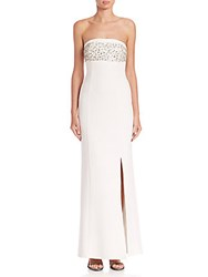 Laundry By Shelli Segal Platinum Halloway Strapless Drape Back Gown Warm White