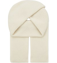 Johnstons Ribbed Cashmere Scarf Chalk