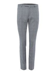 Label Lab Men's Syd Check Skinny Suit Trouser Grey