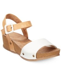 Rocket Dog Gem Footbed Platform Wedge Sandals Women's Shoes White