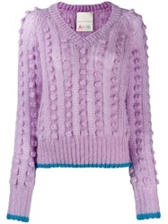 Marco De Vincenzo Chunky Bobble Knit Jumper Purple
