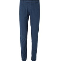 Boglioli Tapered Nep Cotton Blend Trousers Blue