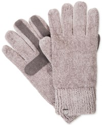 Isotoner Signature Chenille Knit Palm Smart Touch Tech Gloves Chrome