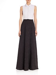 Badgley Mischka Belted Colorblock Ball Gown Black White
