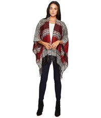 San Diego Hat Company Bsp3535 Soft Woven Poncho With Fringe Red Women's Clothing