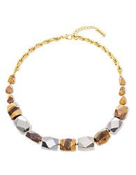 Steve Madden Multi Faceted Tiger's Eye And Hematite Beads Necklace Two Tone