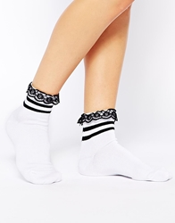 Asos 2 Stripe Ankle Socks With Lace Trim White