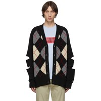 Burberry Black Merino And Cashmere Cut Out Downton Cardigan