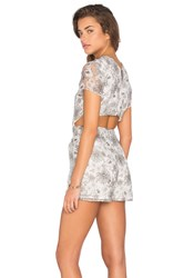 Lucca Couture Open Back Printed Organza Romper Black And White