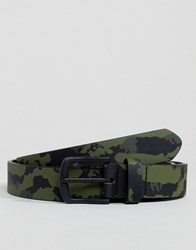 Asos Design Faux Leather Slim Belt In Camo Print Green