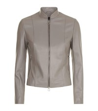 Harrods Stand Collar Leather Jacket Brown