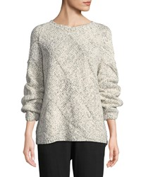 2502fd92896382 Eileen Fisher Diamond Cable Knit Cotton Sweater Soft White Black