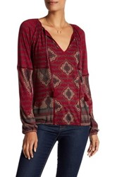 Lucky Brand Placed Print Ladder Lace Tee Red