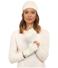 Ugg Classic Sequin Trimmed Beanie And Tech Fingerless Set Cream Multi Beanies