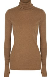Enza Costa Cotton And Cashmere Blend Turtleneck Sweater Camel