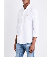 The Kooples Contrast Collar Classic Fit Cotton Shirt Whi01