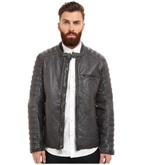 Marc New York Broadway Bubble P U Moto Jacket W Quilted Sleeve Detail Steel Men's Coat Silver
