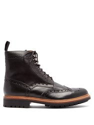 Grenson Fred Leather Brogue Boots Black
