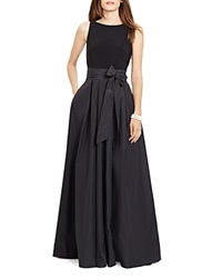 Lauren Ralph Lauren Belted Taffeta Skirt Gown Black