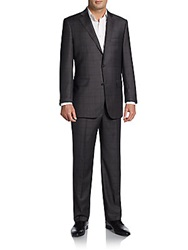 Saks Fifth Avenue Black Regular Fit Shark Plaid Wool Silk Suit Charcoal