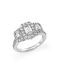 Bloomingdale's Emerald Cut Diamond Three Stone Engagement Ring In 14K White Gold 2.0 Ct. T.W. Green White