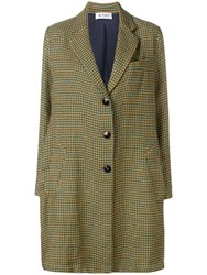 Barena Houndstooth Single Breasted Coat Neutrals