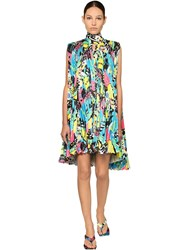 Balenciaga Pleated Print Light Satin Mini Dress Multicolor