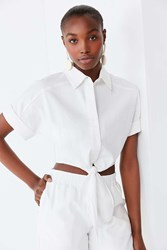 Lucca Couture Vera Tie Front Top White