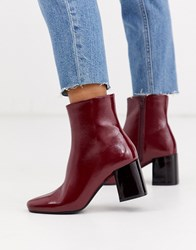 Pimkie Contrast Heel Patent Boots In Red