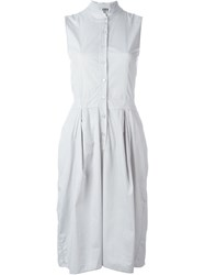 Kristensen Du Nord Button Mid Length Sleeveless Dress Grey