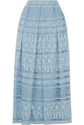 House Of Holland Heart Guipure Lace Maxi Skirt Blue
