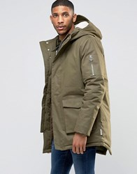 Bellfield Borg Lined Parka With Fish Tail Khaki Green