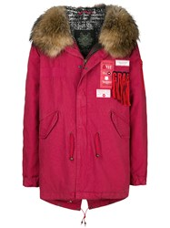 Mr And Mrs Italy Hooded Patch Parka Coat Red