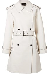 Tom Ford Double Breasted Leather Trench Coat Ivory Gbp