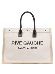 Saint Laurent Rive Gauche Print Canvas Tote Beige
