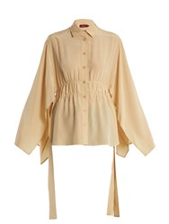 Sies Marjan Addilyn Slit Hem Silk Crepe De Chine Blouse Beige