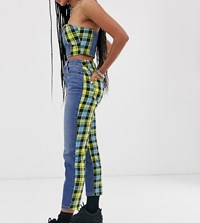 Reclaimed Vintage The '89 Slim Tapered Leg Jean With Blocked Check Back Print Blue