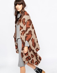 Paisie Wool Poncho In Leopard Pattern Knit Multi