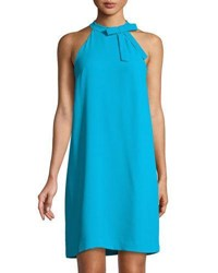 Cynthia Steffe Halter Neck Bow Sleeveless Shift Dress Blue