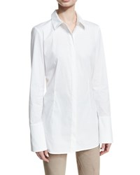Lafayette 148 New York Jake Long Classic Blouse White